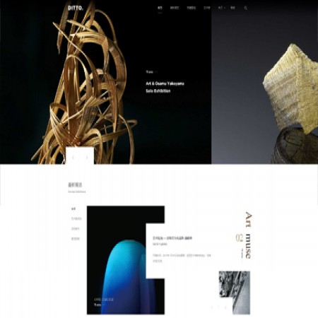 黑色艺术品展览公司网站模板