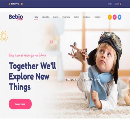 蓝色幼儿园网站模板