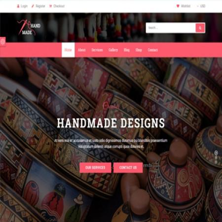 粉色工艺品外贸公司网站模板