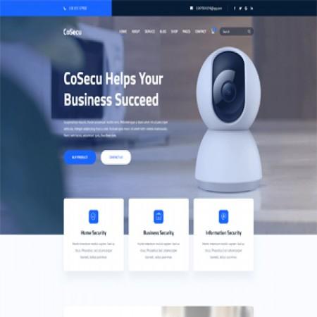 蓝色摄像头外贸企业网站模板