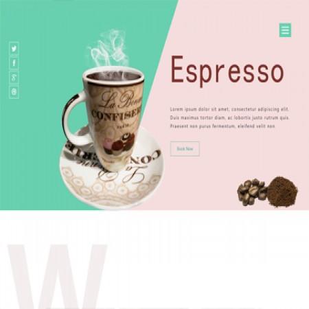 棕绿色咖啡店网站模板